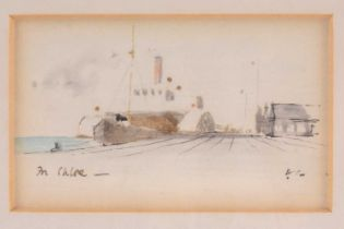 Sir Hugh Casson (1910-1999), a miniature watercolour and pencil study, depicting a ship in port,