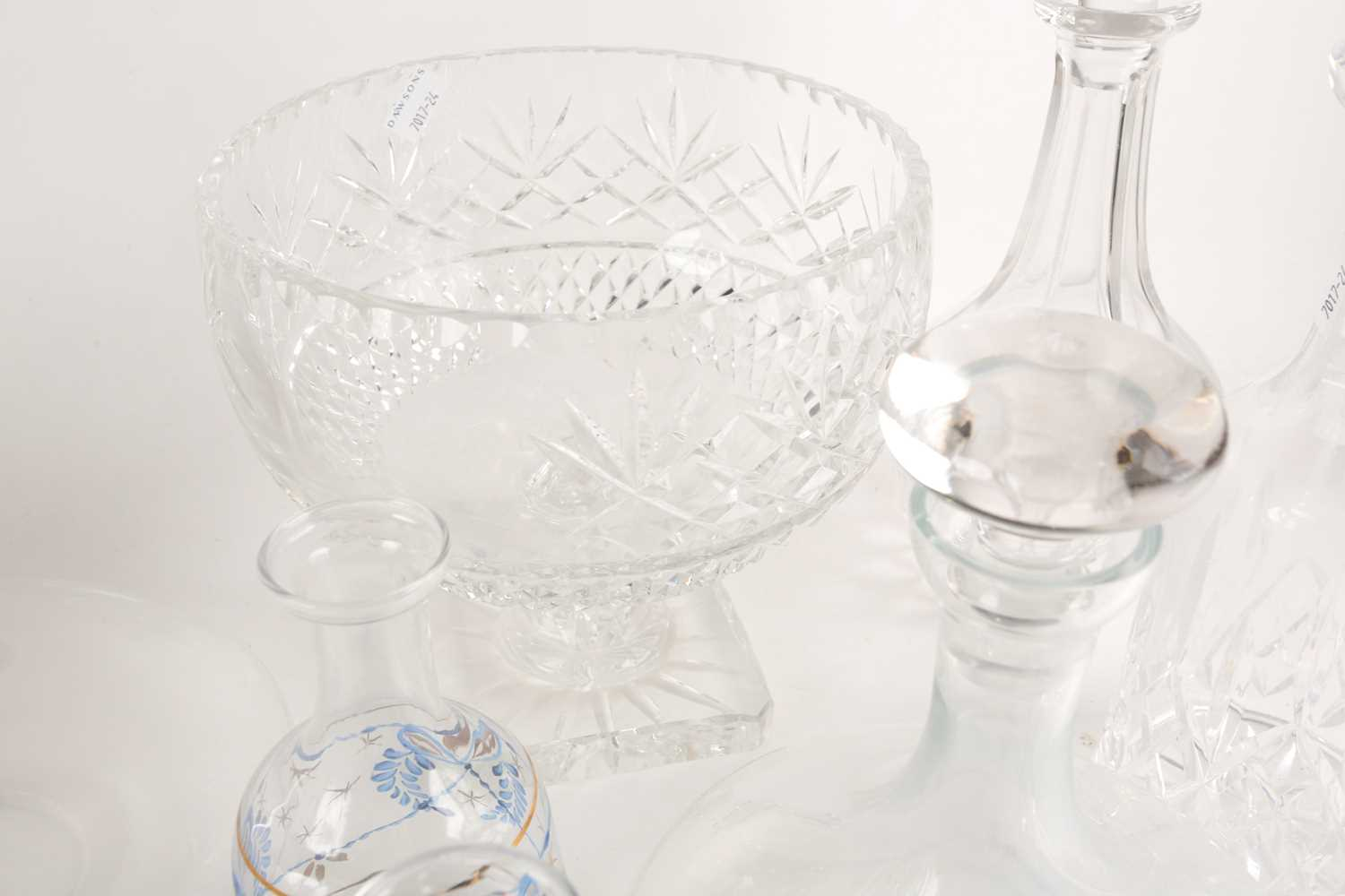 A quantity of cut glass to include a pair of large pedestal bowls, a Waterford decanter, glass - Image 6 of 7