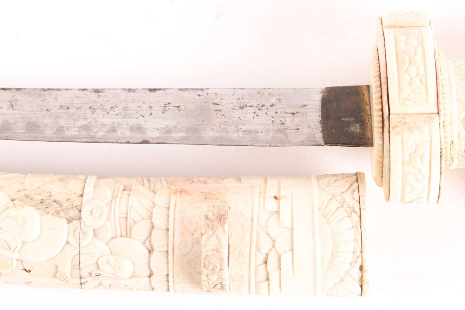 A Japanese Meiji period Wakizashi with bone scabbard grip and tsuba carved with scenes of sages - Image 2 of 7