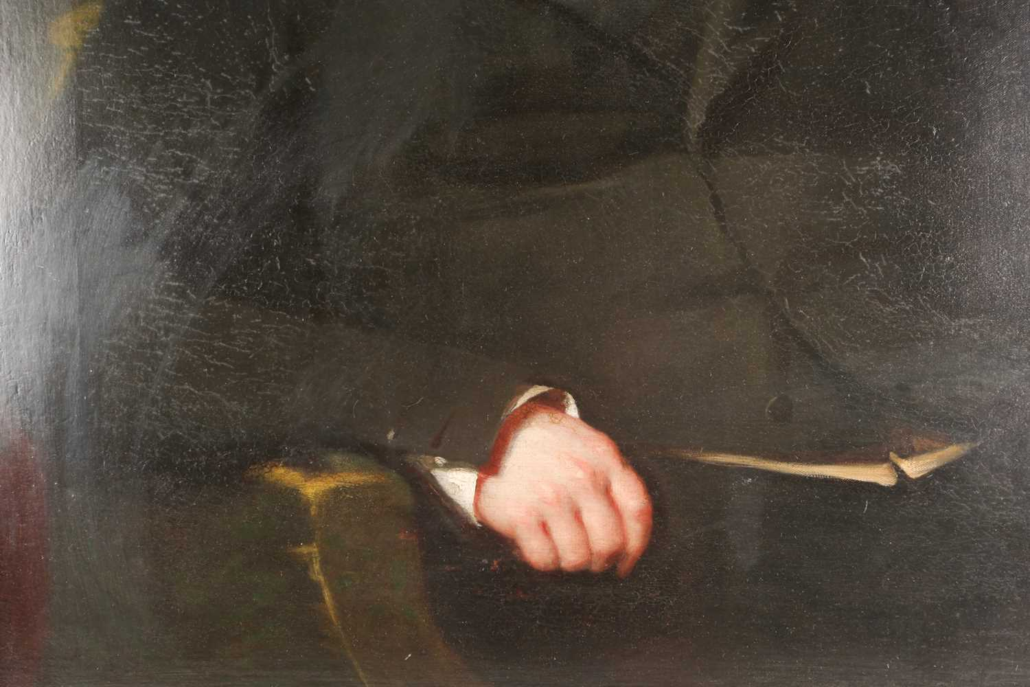 19th century British school, a half-length portrait of a seated gentleman, unsigned oil on canvas, - Image 4 of 5
