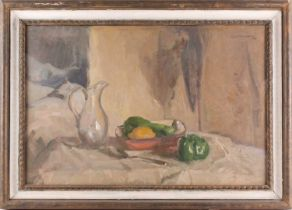Alfred Robert Hayward (1875-1971) British, a still life study of fruit in a bowl with a glass jug