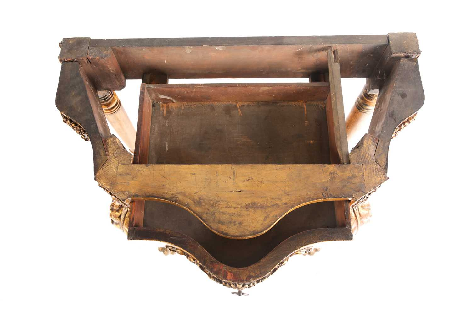 An Italianate marble-topped carved wood and gilt gesso serpentine console table with a single frieze - Image 7 of 9