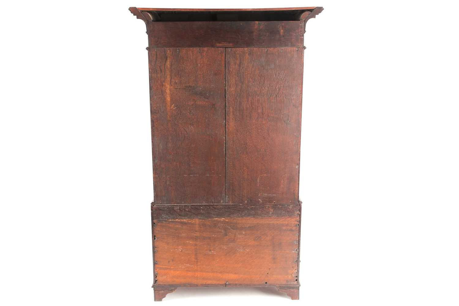 A Chippendale style miniature mahogany bombe bureau bookcase. The upper section with arcaded - Image 6 of 7