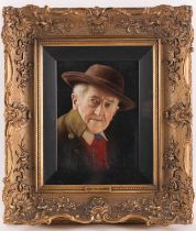 Carl Heuser (1827-1892), a head and shoulders portrait of an elderly gentleman, titled verso 'Old