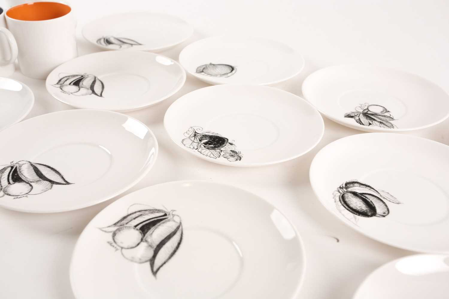 A collection of Susie Cooper black fruit pattern coffee cans and saucers, the cans with variously - Image 6 of 7