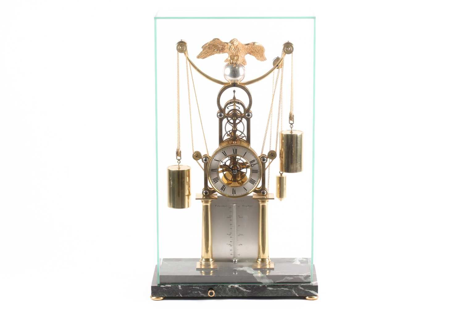 F.H. Whitlock. A French-style twin weight driven brass skeleton timepiece mantle timepiece with