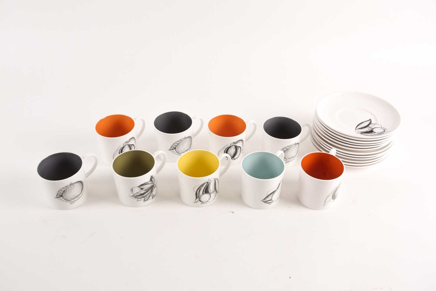 A collection of Susie Cooper black fruit pattern coffee cans and saucers, the cans with variously - Image 5 of 7