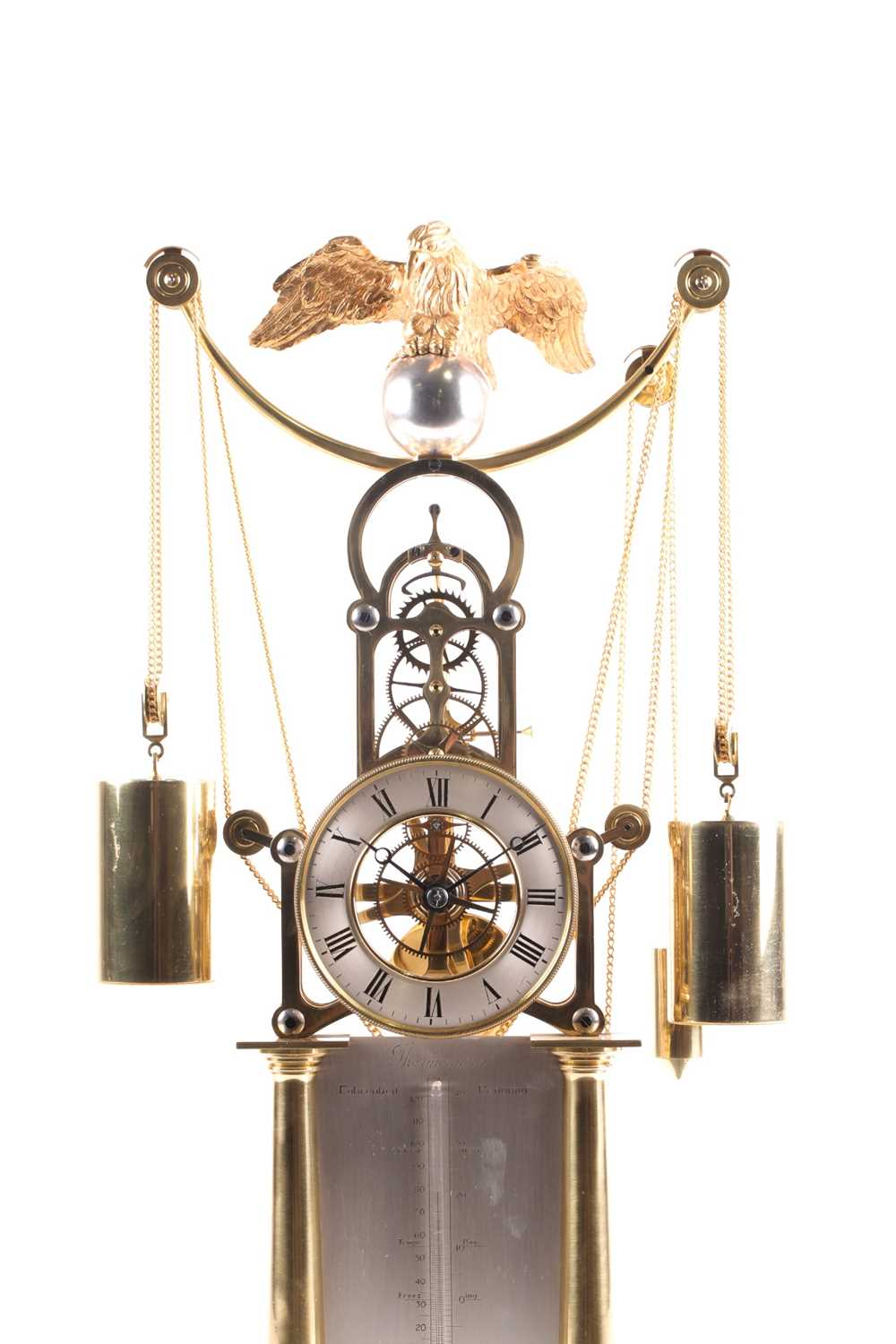 F.H. Whitlock. A French-style twin weight driven brass skeleton timepiece mantle timepiece with - Image 9 of 9