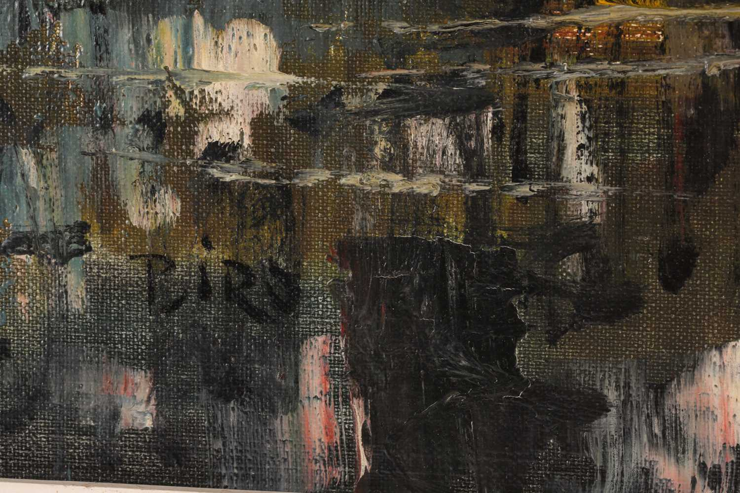 Biro, 20th century school, a townscape painted at night, oil on canvas, signed to lower left corner, - Image 2 of 6