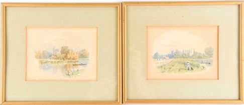 F.G. Coleridge (1840-1925), 'Cookham from the Thames', a pair of pencil and watercolour