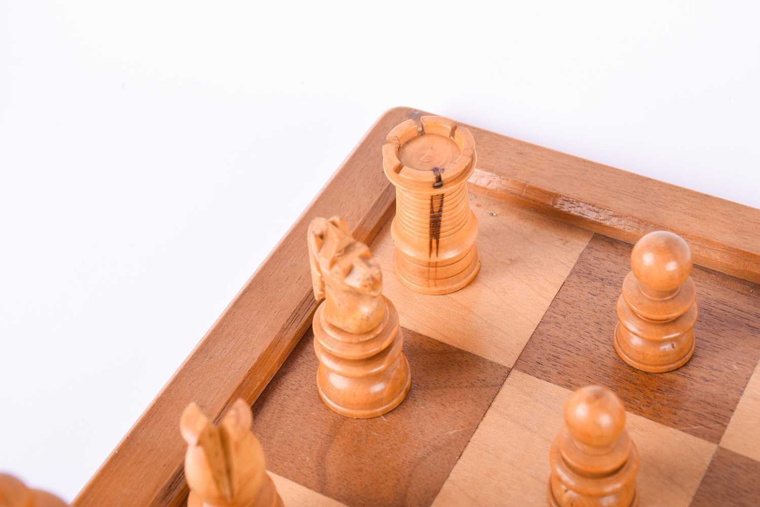 A 19th century turned boxwood and ebony chess set, together with an almost similar 20th century - Image 7 of 8