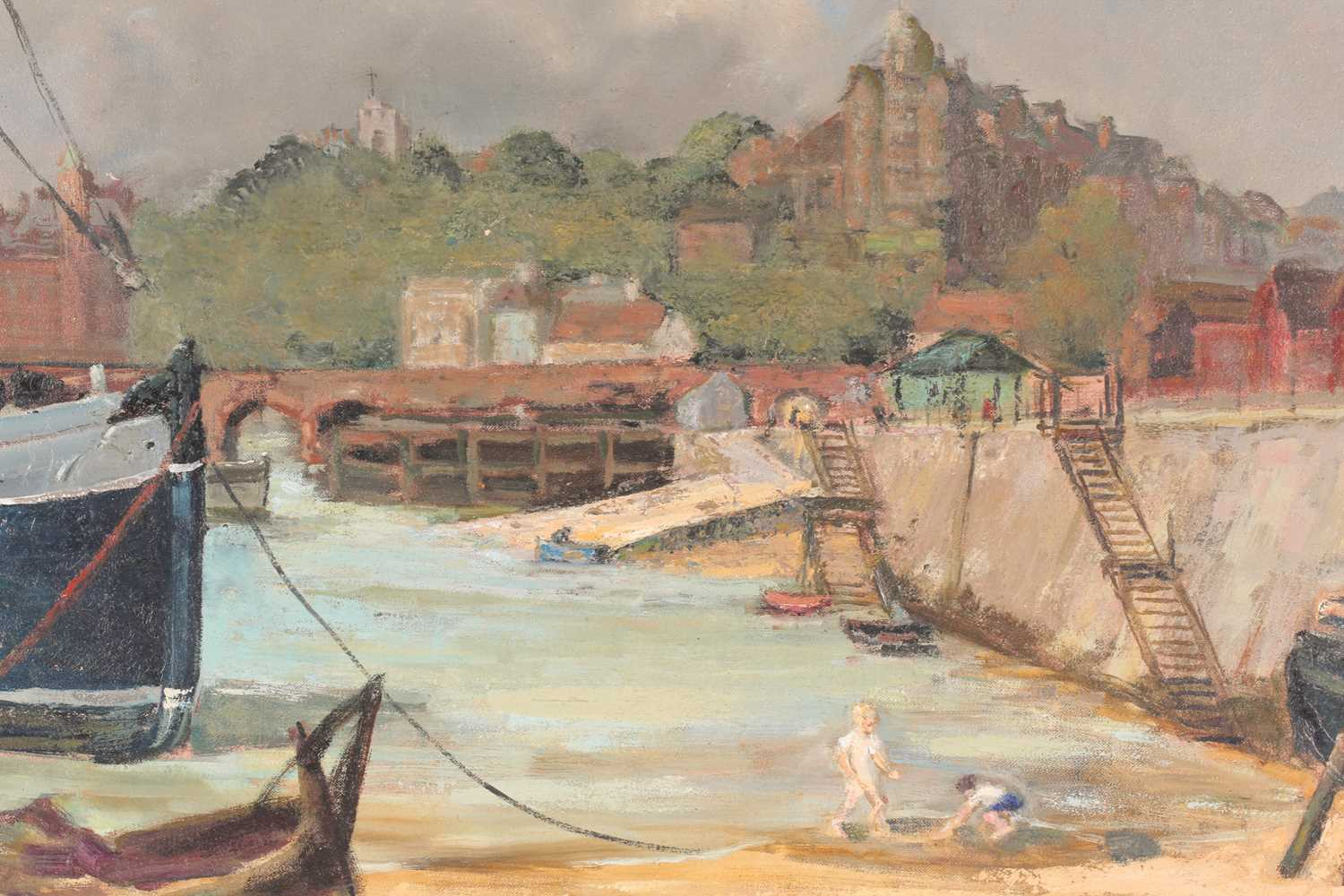 20th century British school, a harbour scene at low tide, children playing on the sand, unsigned oil - Image 2 of 5