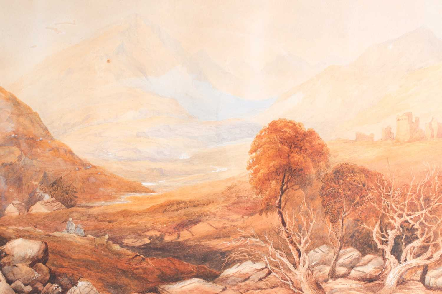 19th century Scottish school, a mountainous landscape, depicting the remains of a fort in the - Image 2 of 7