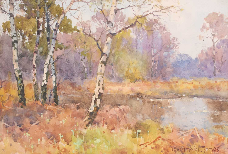 Reginald T Jones, (1857-1920), a scene of silver birch trees in a river landscape, watercolour, - Image 2 of 4