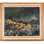 Biro, 20th century school, a townscape painted at night, oil on canvas, signed to lower left corner,