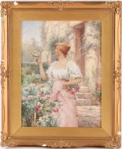 Alfred Augustus Glendenning (1840-1910), a lady collecting garden flowers in a cottage garden,
