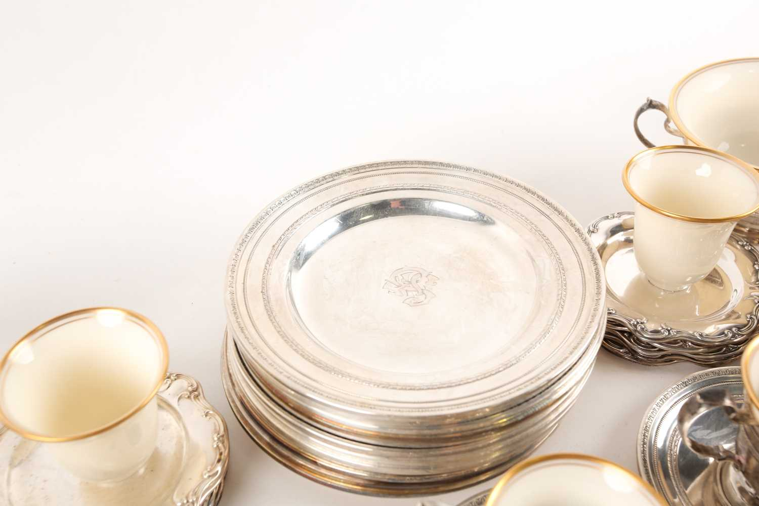 A Lenox Porcelain coffee and dessert service, set in Gorham Sterling Silver mounts, comprising - Image 6 of 26