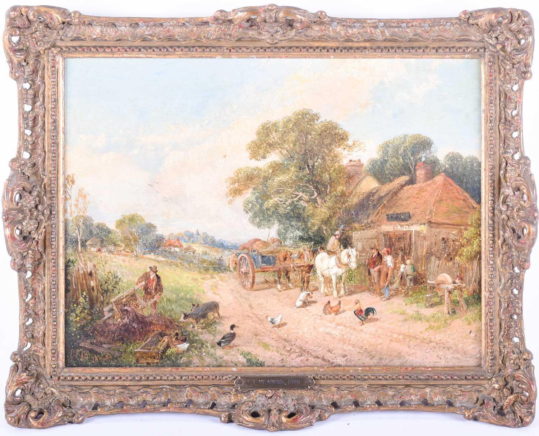 Edwin L. Meadows (fl. 1854-1872) British, a rural scene depicting a horse and cart beside a