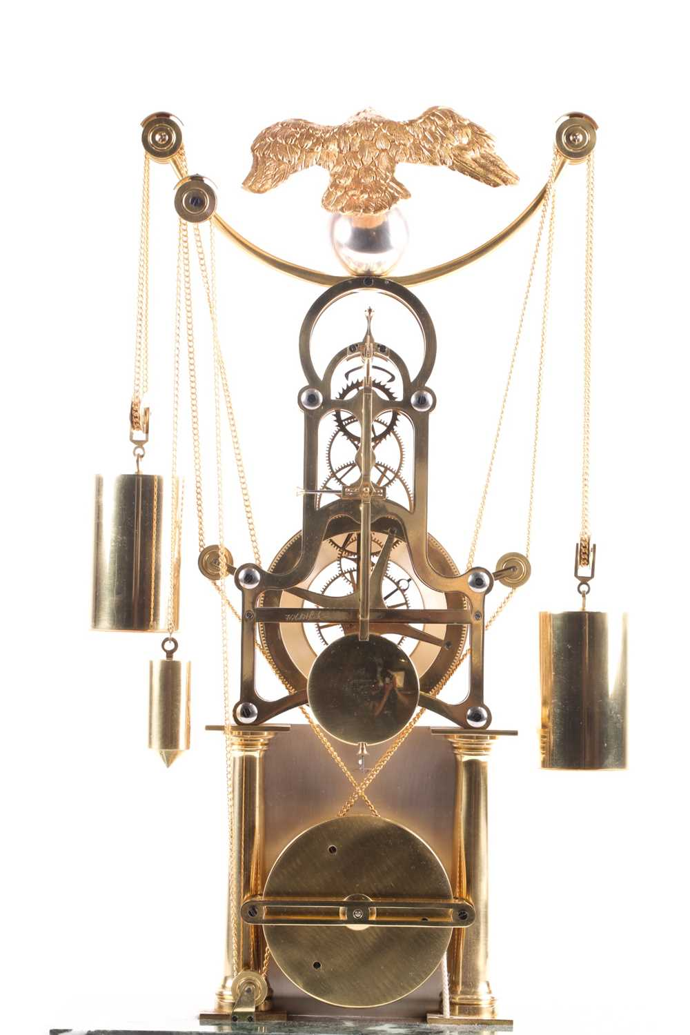 F.H. Whitlock. A French-style twin weight driven brass skeleton timepiece mantle timepiece with - Image 7 of 9