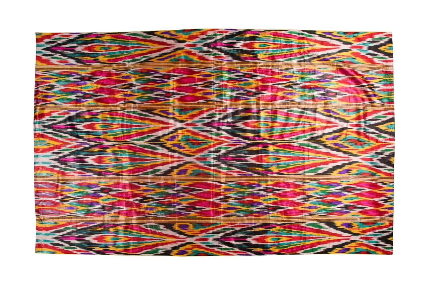 A brightly coloured rectangular Ikat style silk coverlet with cotton lining. 212 cm x 126 - Image 2 of 10