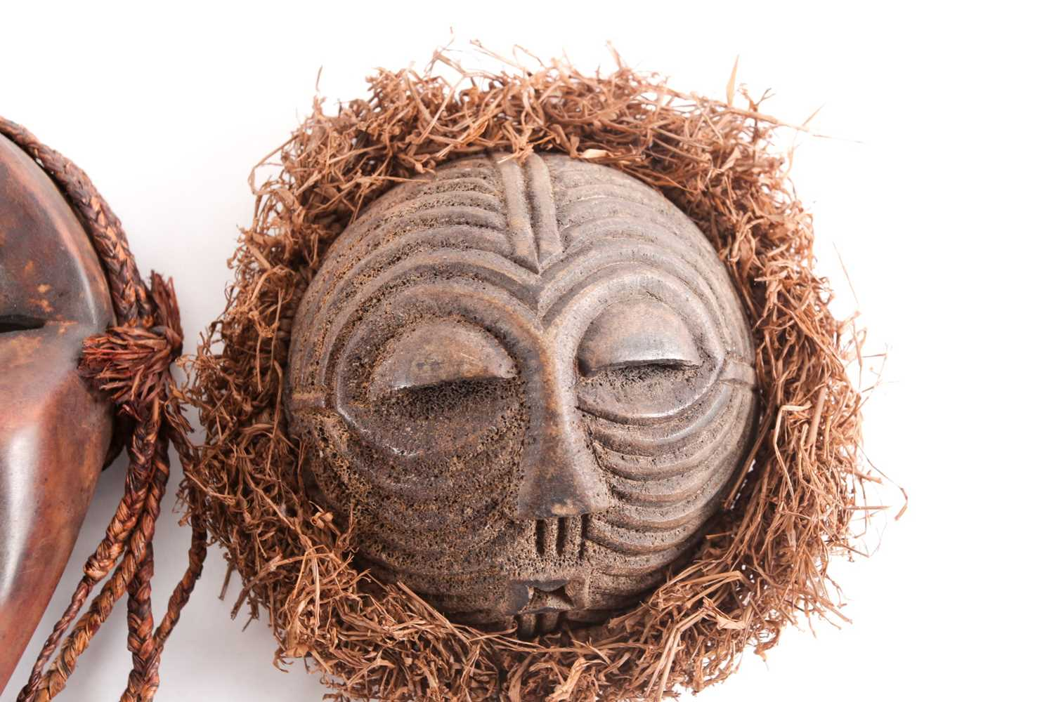 Three Dan passport masks, Ivory coast, one with long woven natural fibres above a median line - Image 6 of 6