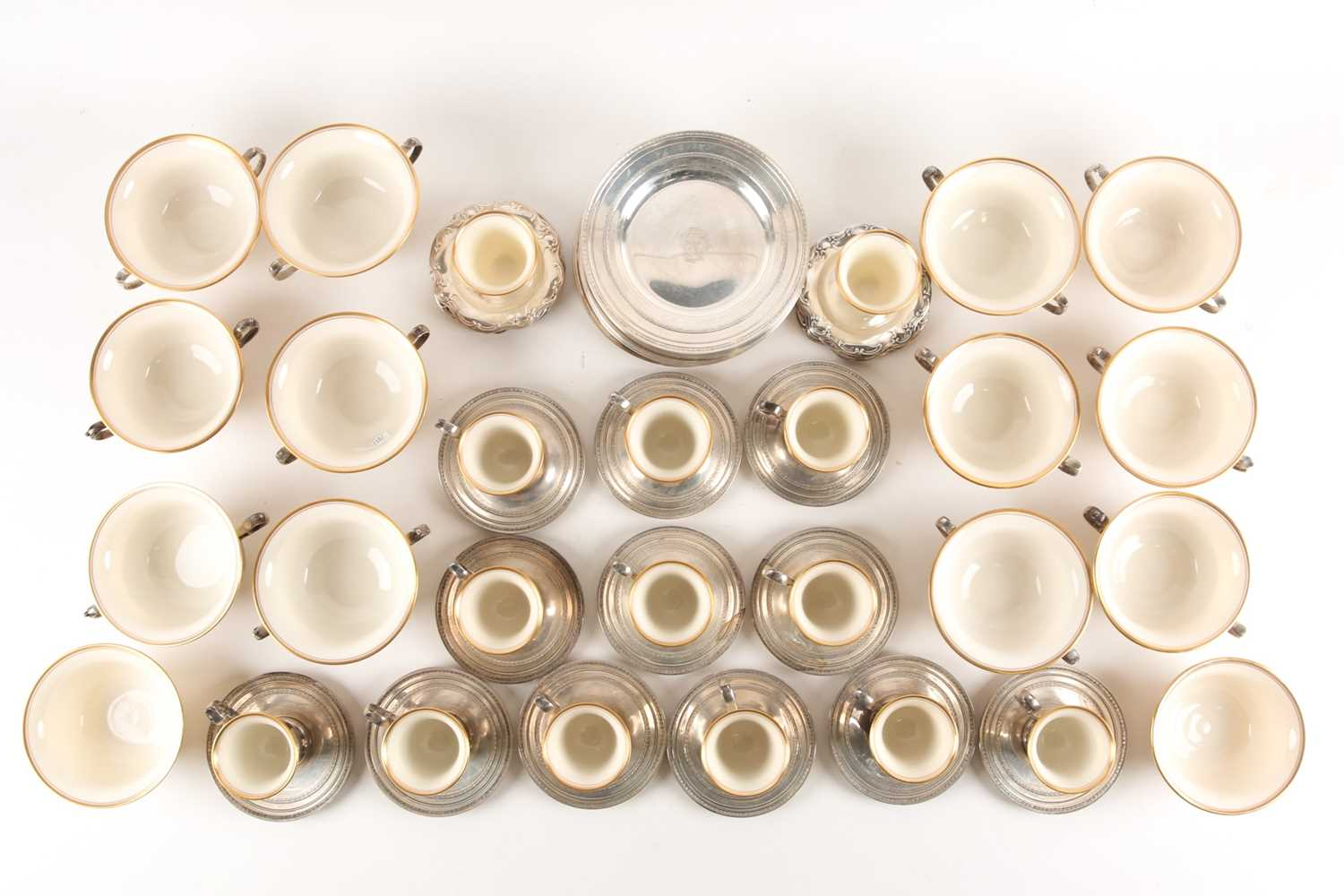 A Lenox Porcelain coffee and dessert service, set in Gorham Sterling Silver mounts, comprising - Image 2 of 26