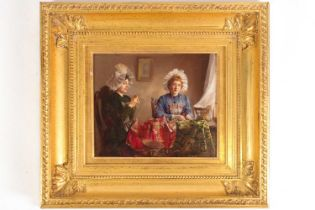 Claude Hugard (French, b 1861), ladies sewing, signed, oil on panel, 23 x 28.5cmPurchased 20th