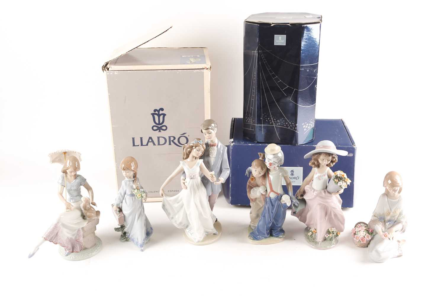 Six Lladro figures, Now & Forever (07642), A Wish Come True, (07676), Pals Forever, (07686),