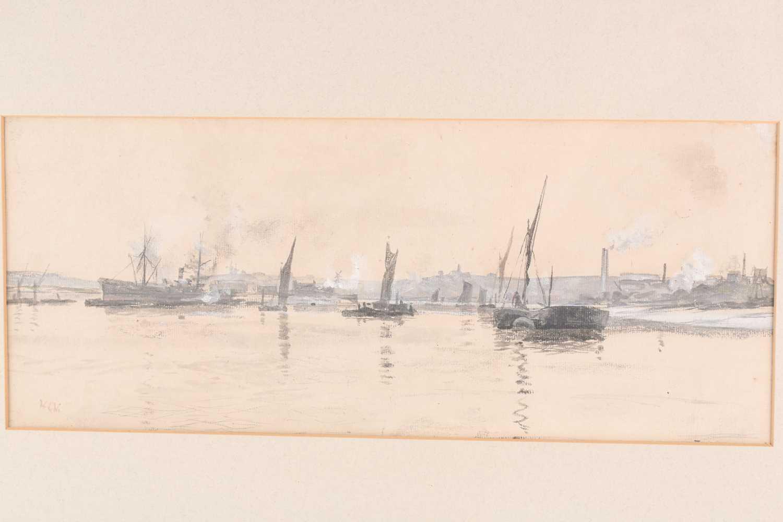 William Lionel Wyllie RA, RBA, RE, RI, NEAC (1851-1931), boats off an industrial coastline, - Image 4 of 4