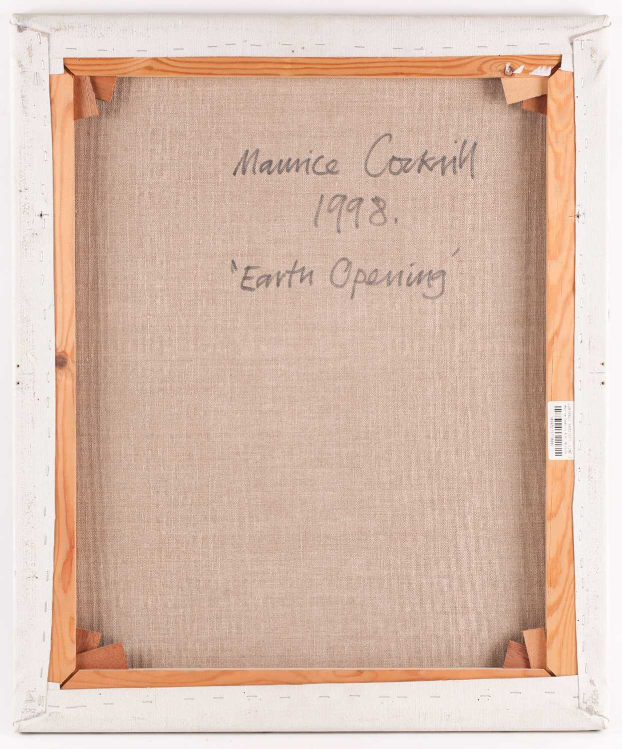 Maurice Cockrill RA (1936-2013), an unframed abstract oil on canvas, 'Earth Opening', signed verso - Image 3 of 3