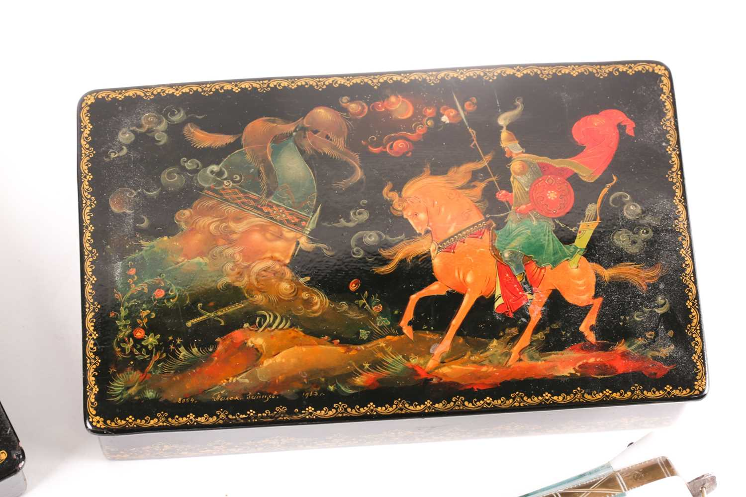 Two Russian lacquer boxes, 20th century, each painted with folklore scene, both signed, the - Image 2 of 6
