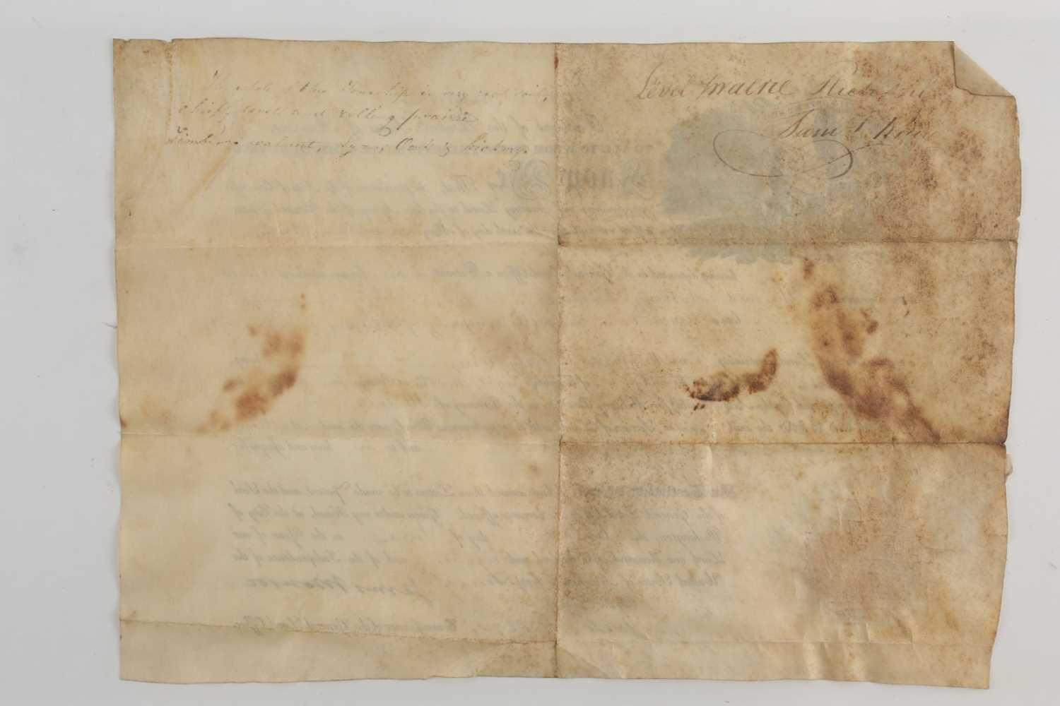 Historical American Interest. An early 19th-century velum land grant indenture signed by James - Image 4 of 4