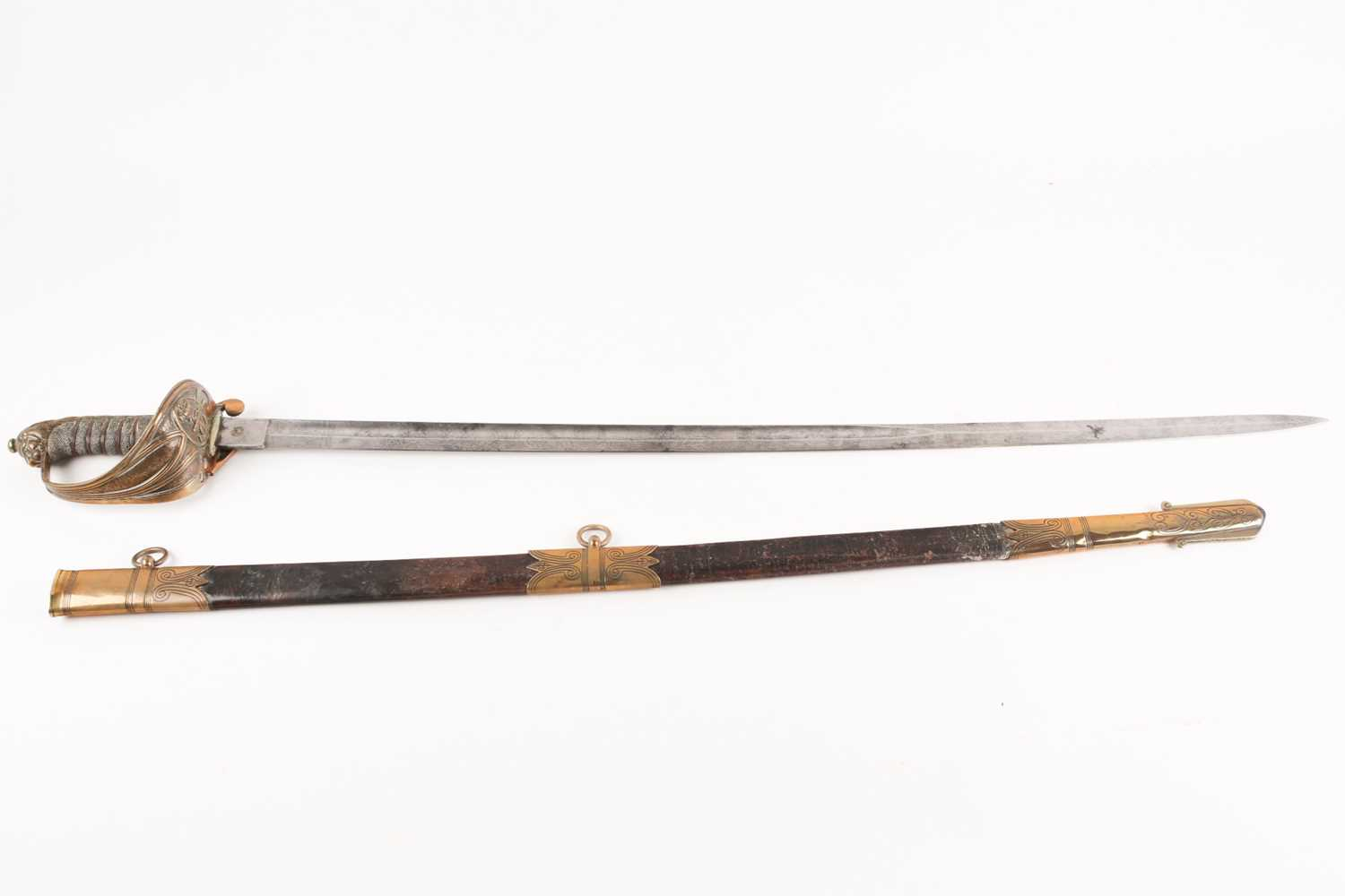 A late 19th century 1827 pattern Naval officers dress sword and scabbard. With lions mask pommel and - Image 5 of 5