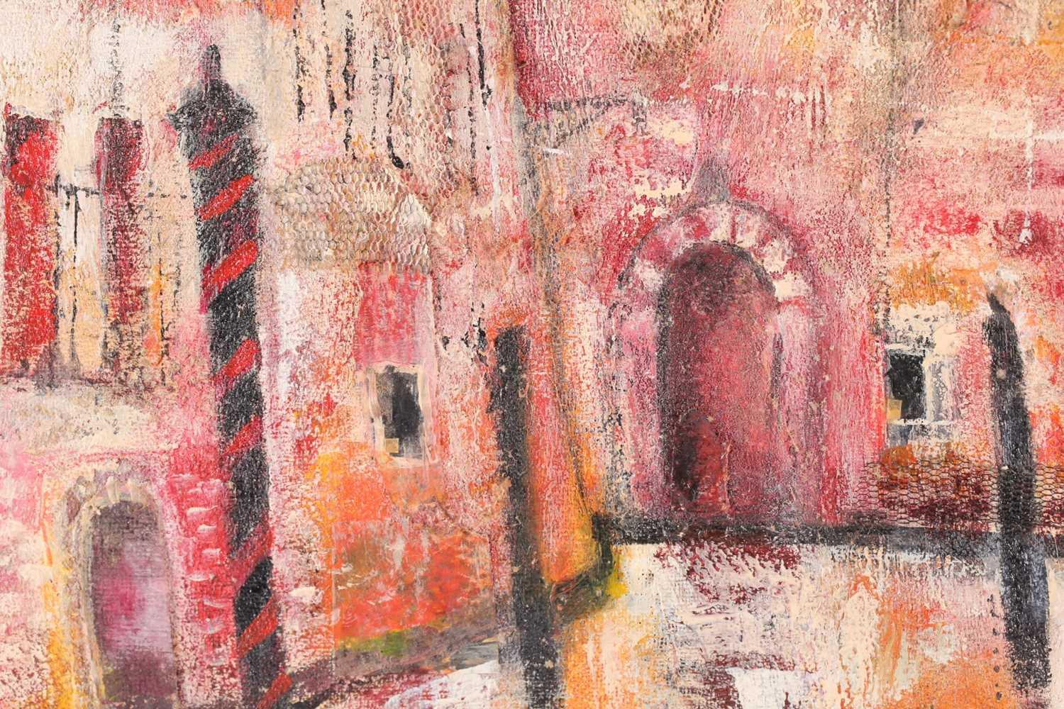 Julie Adlard (20th century), an abstract Venice townscape, oil on canvas, initialled to lower - Image 3 of 4