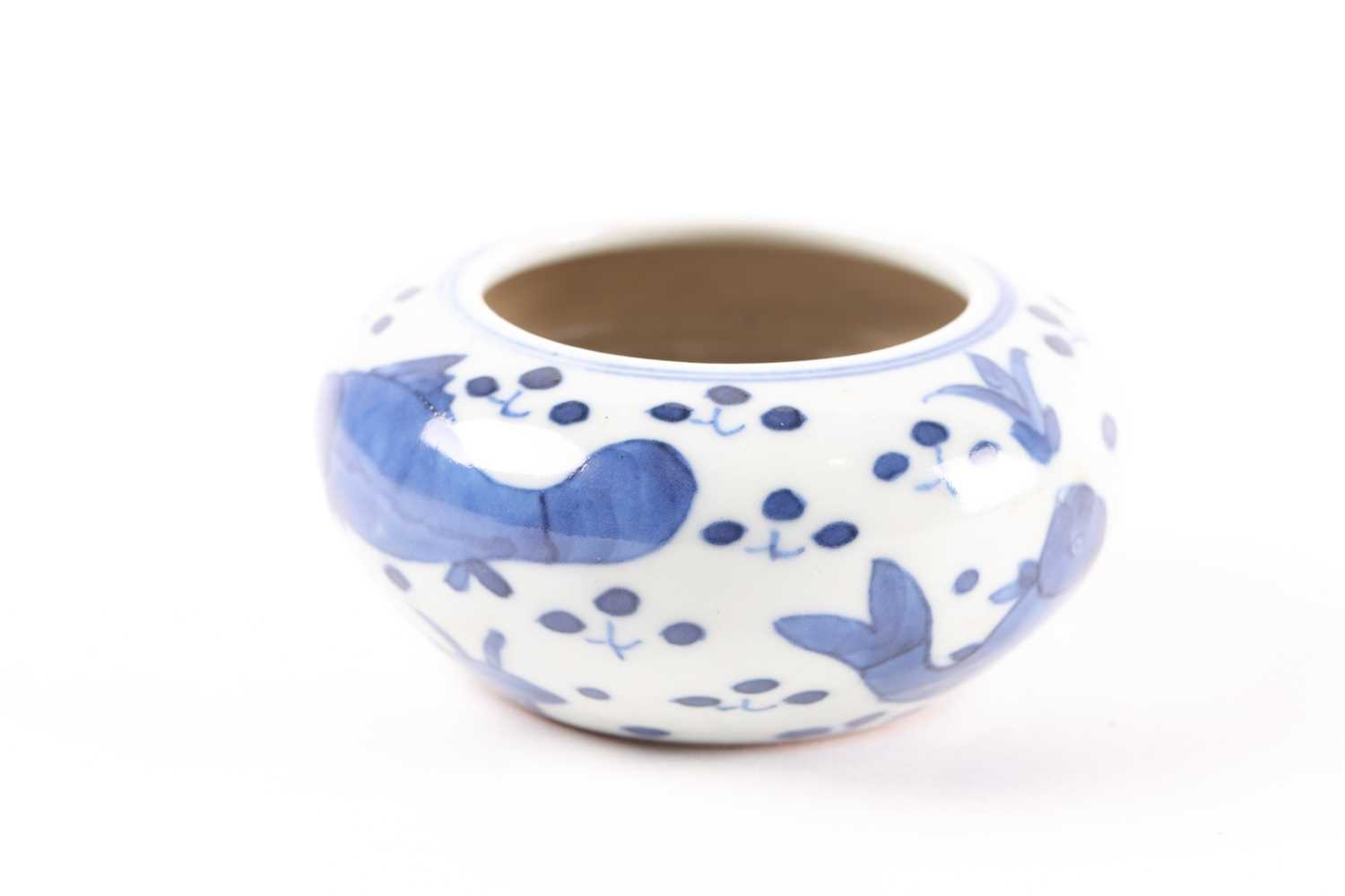 A Chinese blue & white brush washer, of shallow circular form, painted with fish amongst plants, - Image 4 of 5