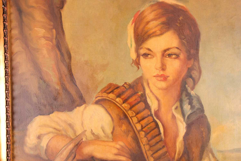 20th century Spanish school, manner of Francisco Ribera Gomez (1907-1990), a half-length portrait of - Image 4 of 5