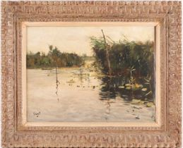 Adrianus Johannes Zwart (1903-1981) Dutch, a quiet river scene with reeds and lily pads, framed