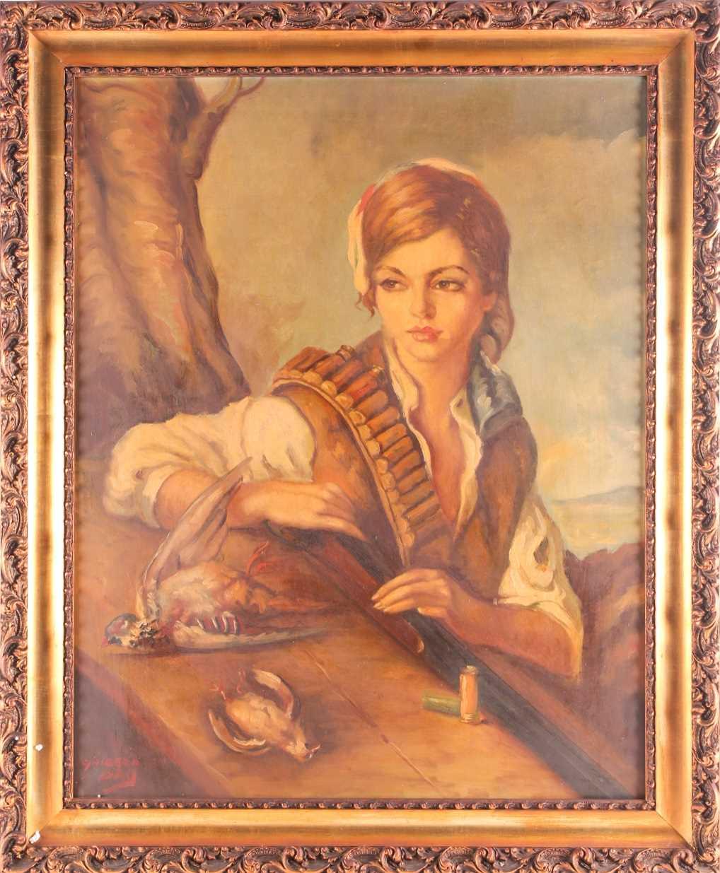20th century Spanish school, manner of Francisco Ribera Gomez (1907-1990), a half-length portrait of