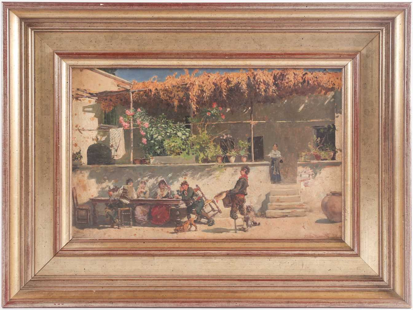 Attilio Simonetti (1874-1922), Waiting of lunch in the mid day sun, oil on panel, signed lower