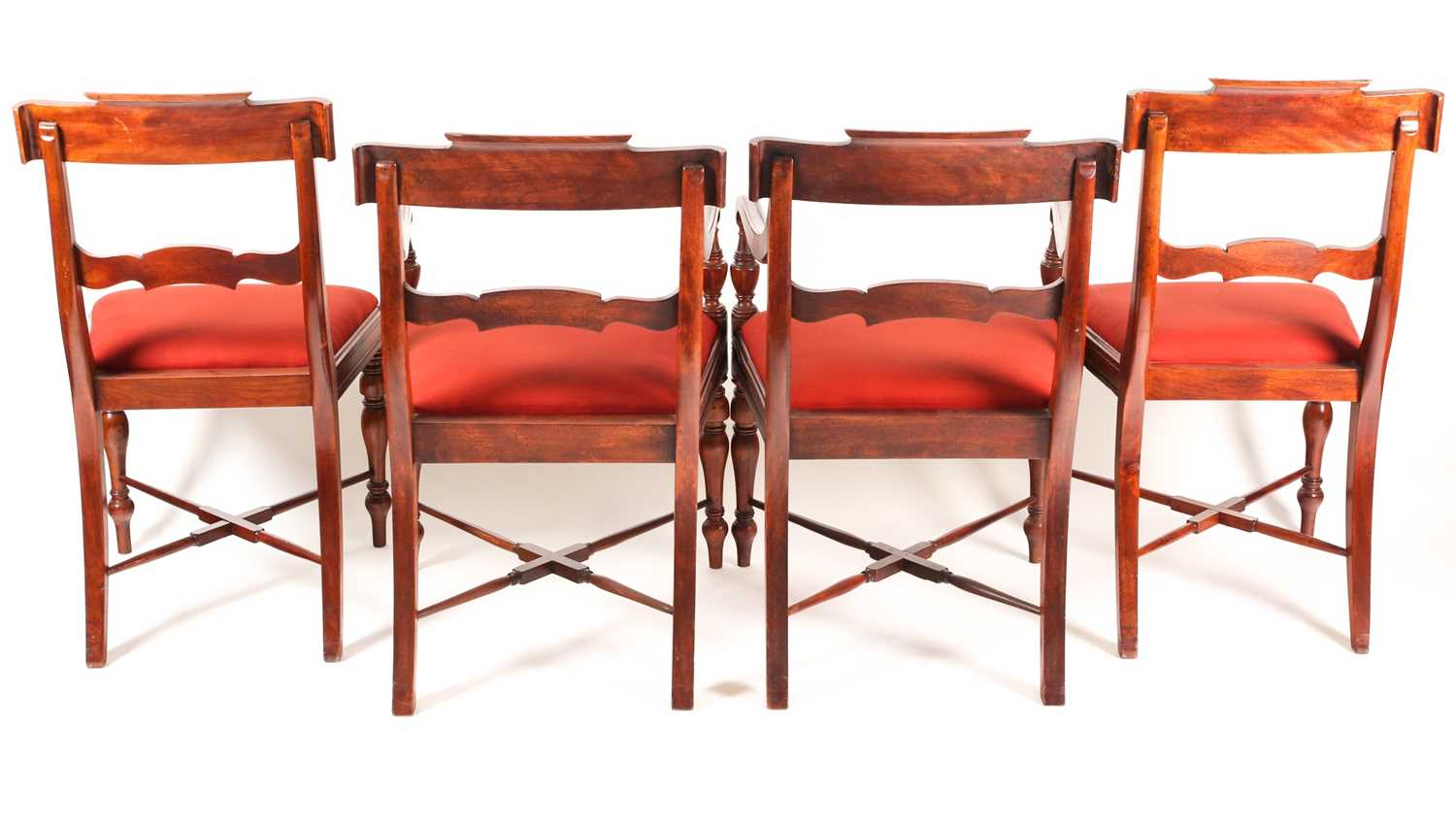 A set of four Scottish Regency mahogany dining chairs. With broad, shaped cresting rails over - Image 2 of 4