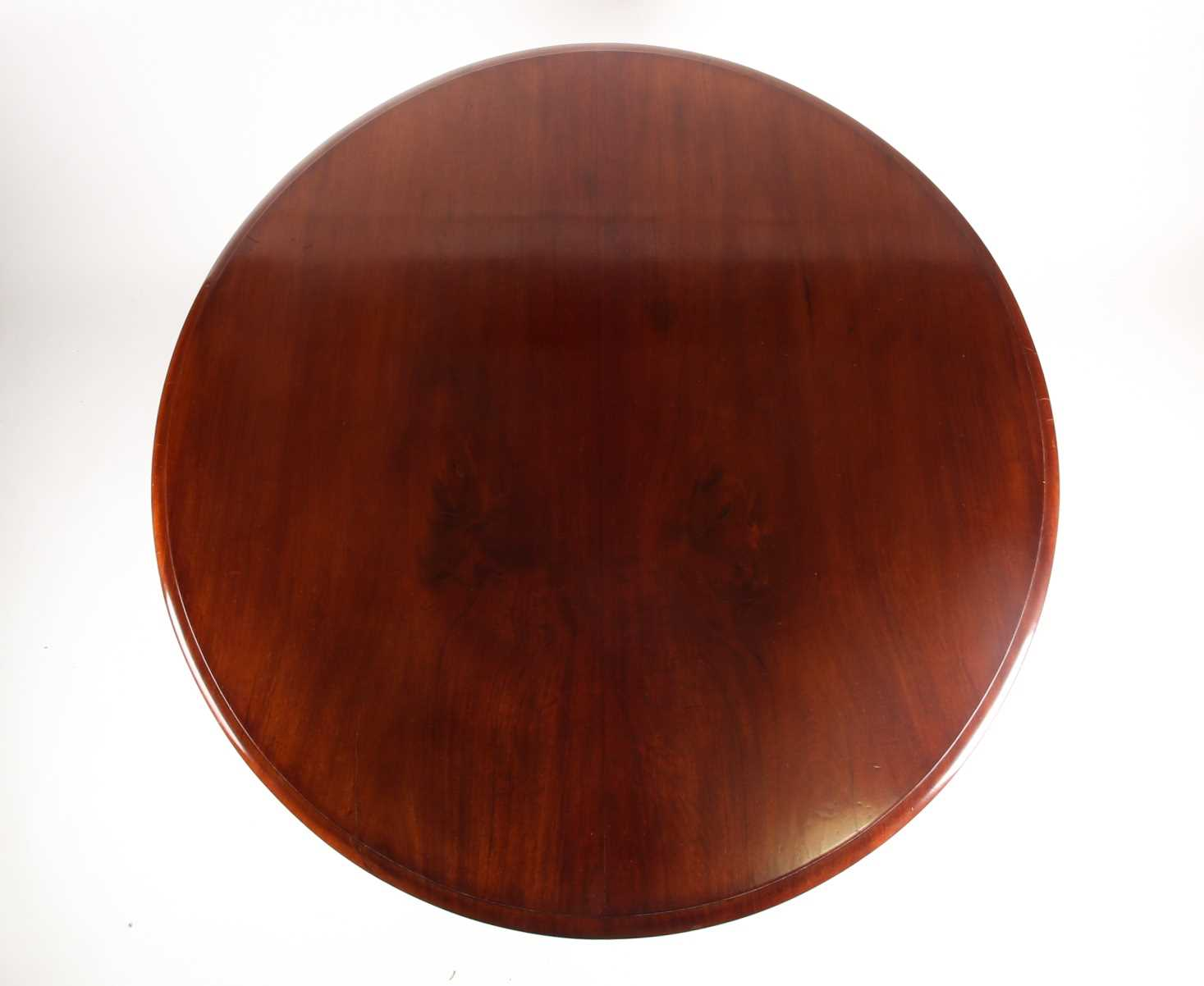 A Victorian mahogany circular flip-top breakfast table. With a carved tripod base. 120 cm diameter x - Image 6 of 6