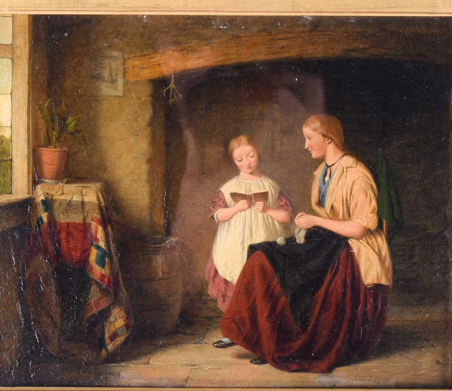 John William Haynes (fl. 1852-1882) British, 'The Task', depicting a young child reading from a book - Image 4 of 4