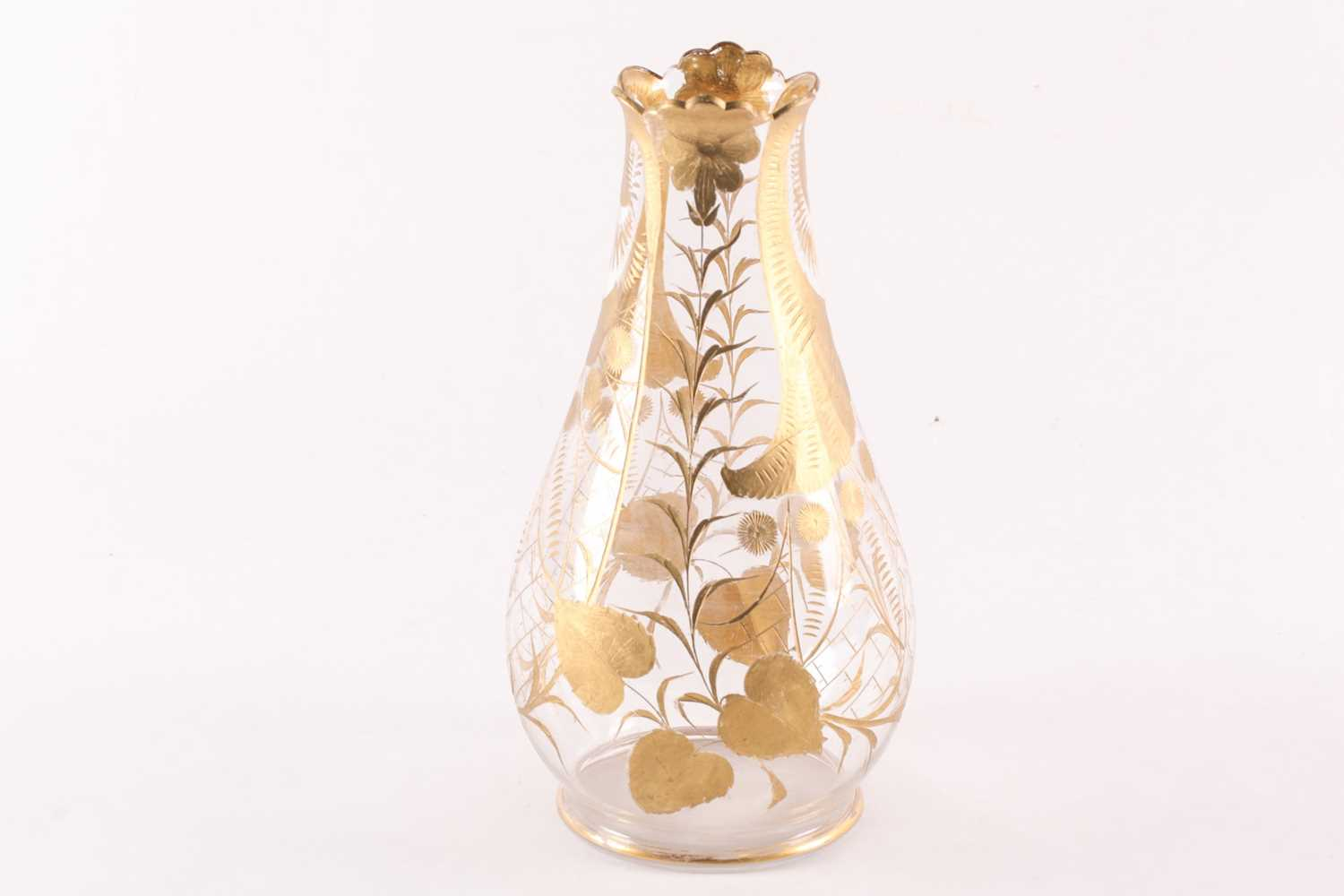A possibly St. Louis (unmarked) cut and gilt clear glass baluster vase with petaled rim. 31 cm - Image 2 of 3