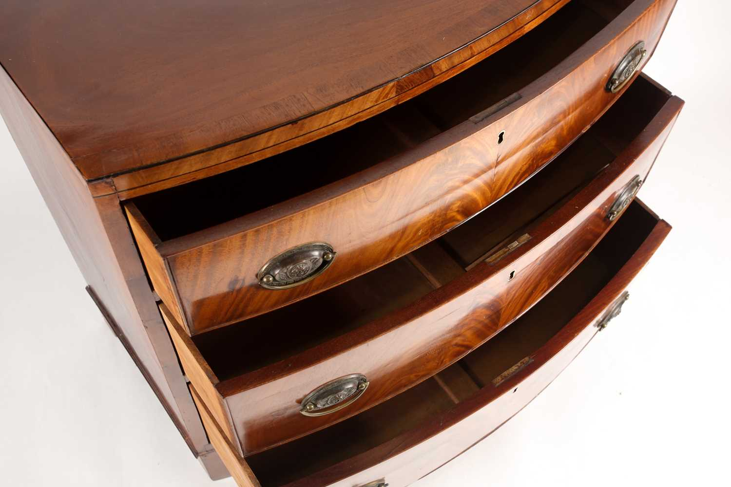 A reconfigured 19th-century mahogany caddy topped bowfront chest of three long drawers. Supported on - Image 3 of 5