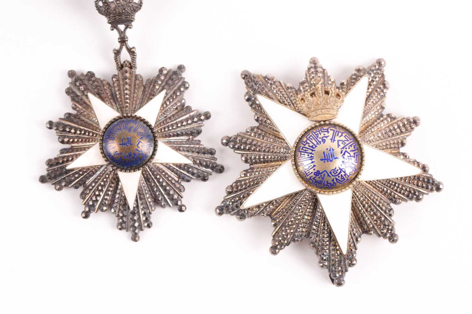 Order Of The Nile. A cased set to include a silver-gilt and enamel neck badge and matching breast