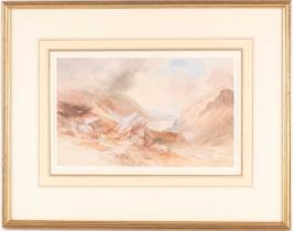 Thomas Lindsay (1793-1861) British, a coastal view from mountains, watercolour, signed to lower left