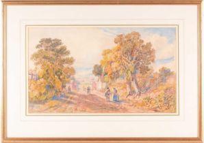 John Joseph Cotman (1814-1878), 'Eaton Hill, Norwich', watercolour, signed to lower left corner,