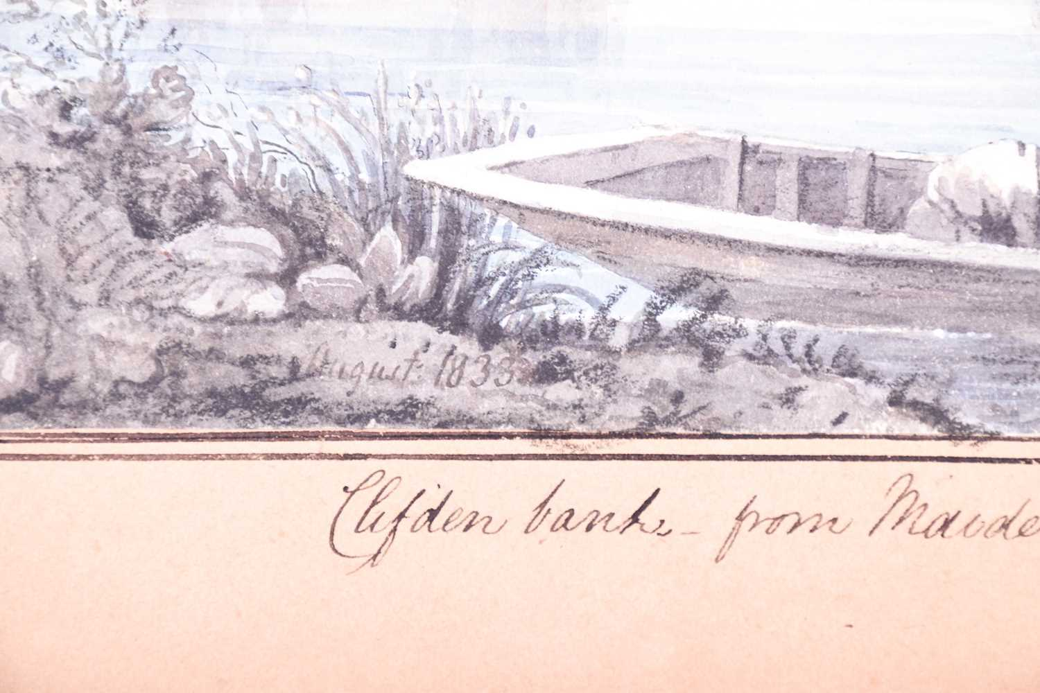 19th century English School, ' Clifden bank from Maidenhead Bridge', dated August 1833, watercolour, - Image 3 of 4