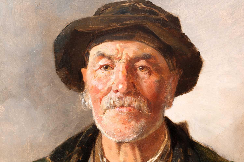 Joseph Eugen Horwarter (Austrian, 1854 - 1925), portrait of a Tyrolean lumberjack, signed and - Image 2 of 6