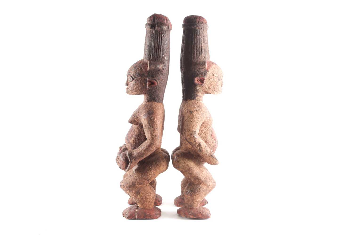 A pair of Ibo spirit figures, Nigeria, each with tall coiffure, signs of scarifications beneath - Image 5 of 5